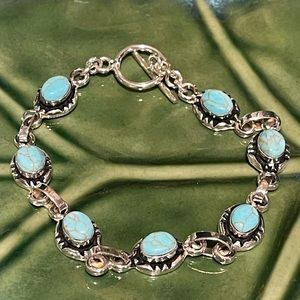 Taxco Mexican Silver & Turquoise Bracelet